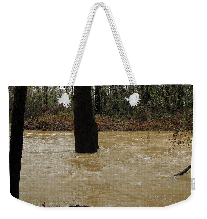 Dry Creek Weekender Tote Bag featuring the photograph Rising Waters With Timber by Kim Pate