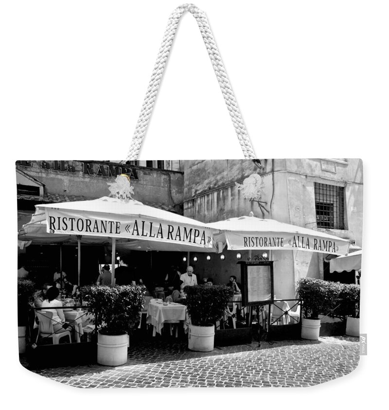 Rome Weekender Tote Bag featuring the photograph Ristorante Alla Rampa by Eric Tressler