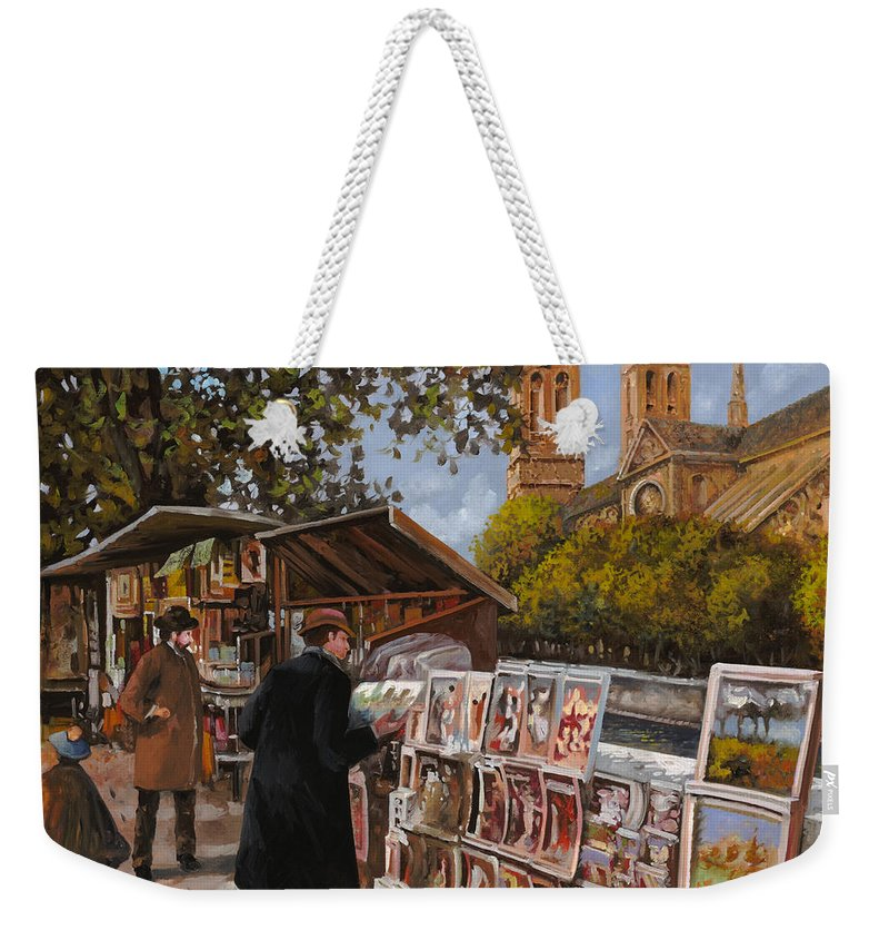 Paris Weekender Tote Bag featuring the painting Rive Gouche by Guido Borelli