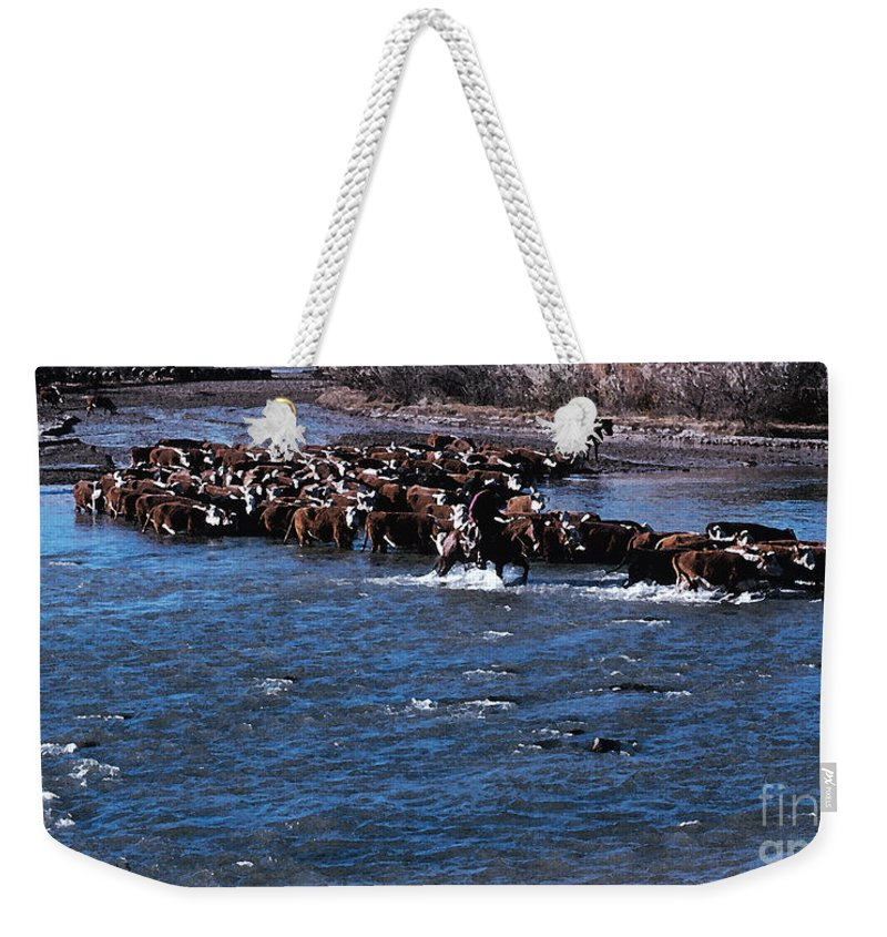 Cowboy Weekender Tote Bag featuring the photograph River Crossing by Jerry McElroy