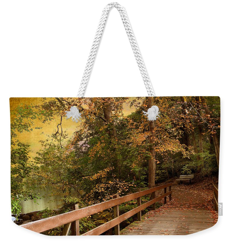 Autumn Weekender Tote Bag featuring the photograph River Crossing by Jessica Jenney
