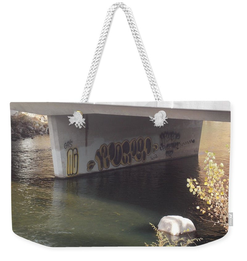 Truckee River Weekender Tote Bag featuring the photograph River Graffiti by Brent Dolliver