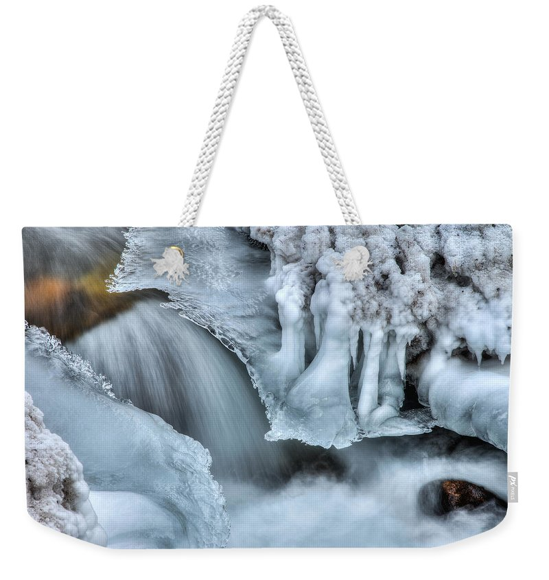 River Weekender Tote Bag featuring the photograph River Ice by Chad Dutson