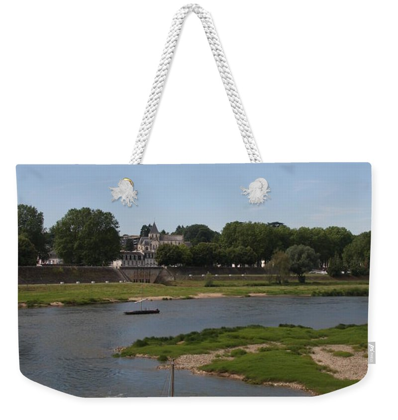 Boat Weekender Tote Bag featuring the photograph River Loire Fishing Boat by Christiane Schulze Art And Photography