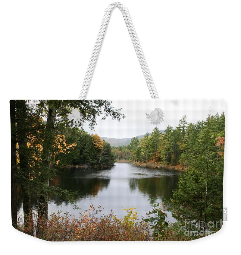 River Weekender Tote Bag featuring the photograph River North Conway by Christiane Schulze Art And Photography