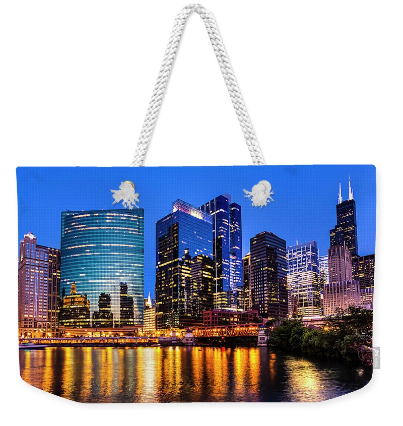 Chicago River Weekender Tote Bag featuring the photograph River North View by Carl Larson Photography