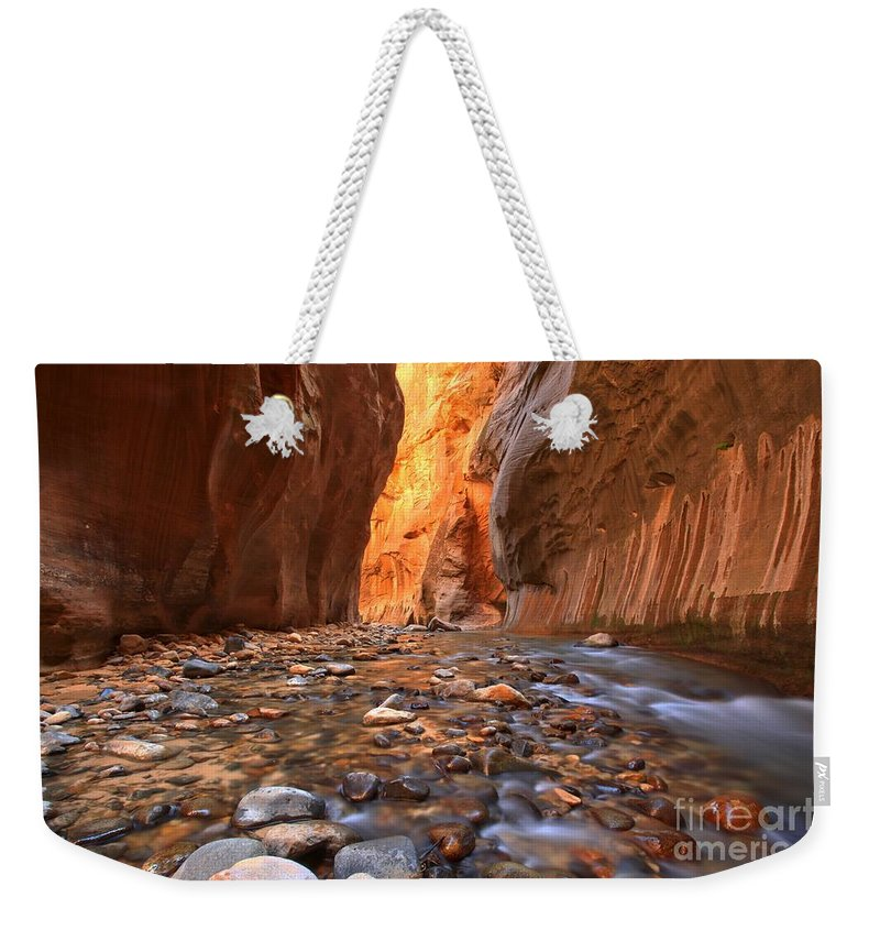 Zion Narrows Weekender Tote Bag featuring the photograph River Rocks In The Narrows by Adam Jewell