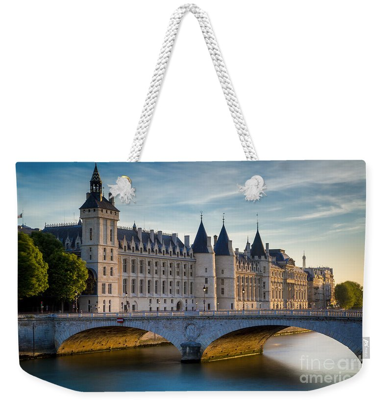 Architectural Weekender Tote Bag featuring the photograph River Seine With Conciergerie by Brian Jannsen