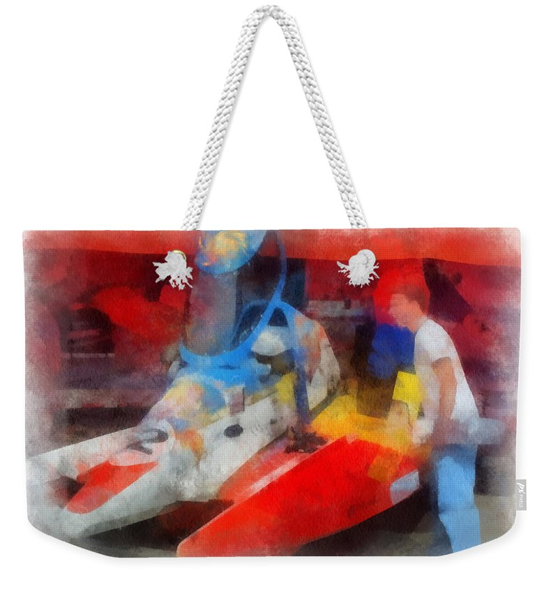 River Racing Weekender Tote Bag featuring the photograph River Speed Boat Number 2 Photo Art by Thomas Woolworth