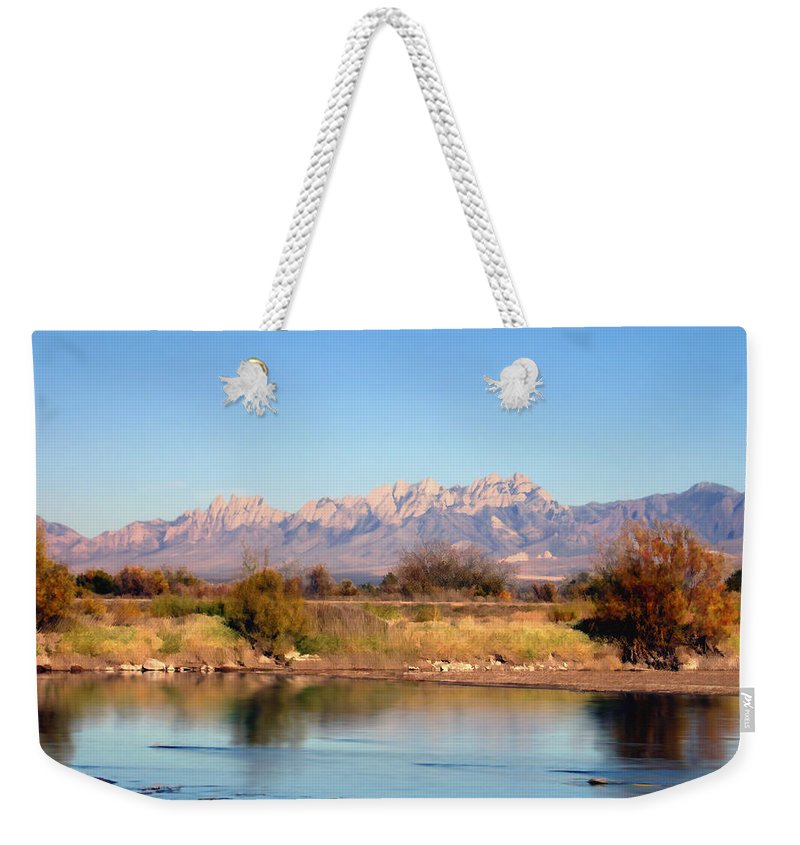 River Weekender Tote Bag featuring the photograph River View Mesilla by Kurt Van Wagner
