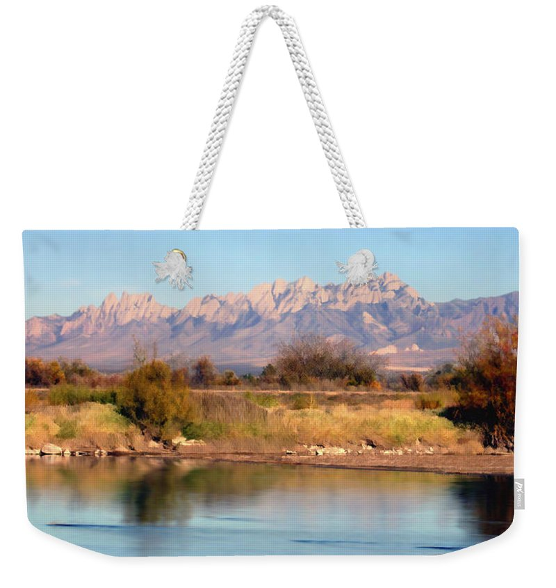 Las Cruces Weekender Tote Bag featuring the photograph River View Mesilla Panorama by Kurt Van Wagner