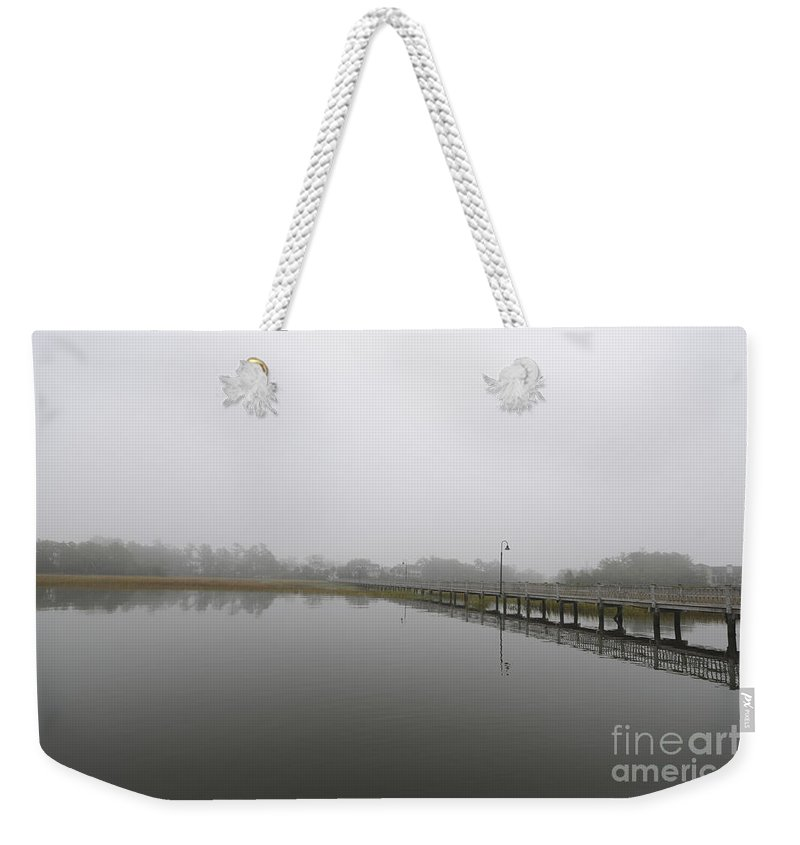 Fog Weekender Tote Bag featuring the photograph Rivertowne Fog by Dale Powell
