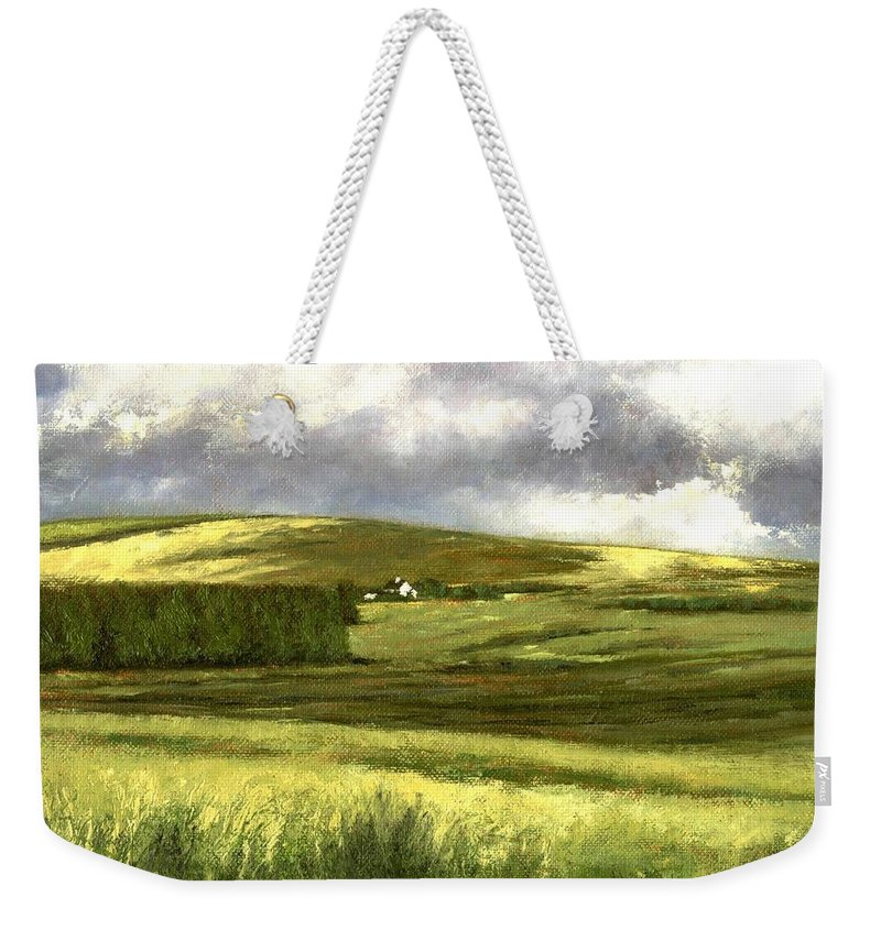Irland Weekender Tote Bag featuring the painting Road to Ardara by Jim Gola