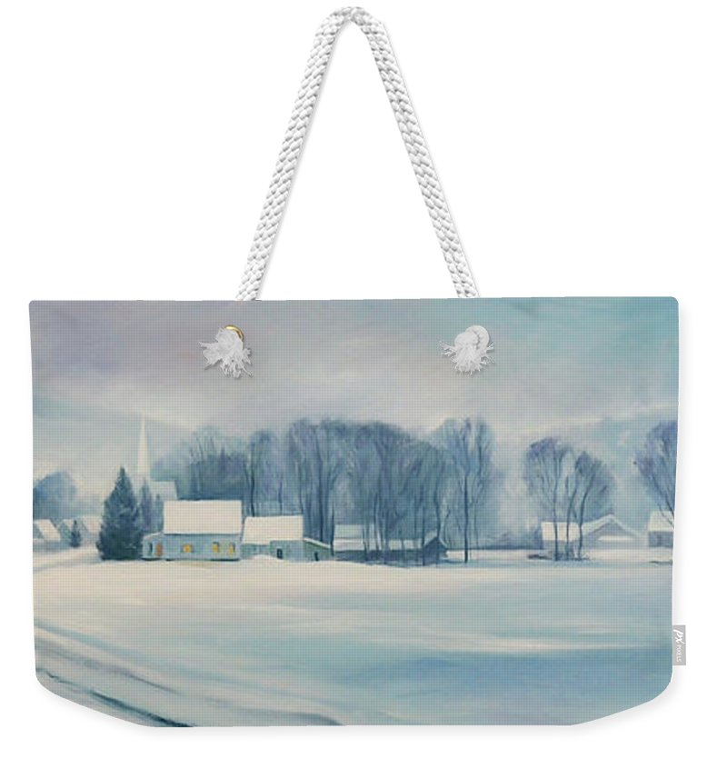 Vermont Weekender Tote Bag featuring the painting Road To Felchville Vermont by Nancy Griswold
