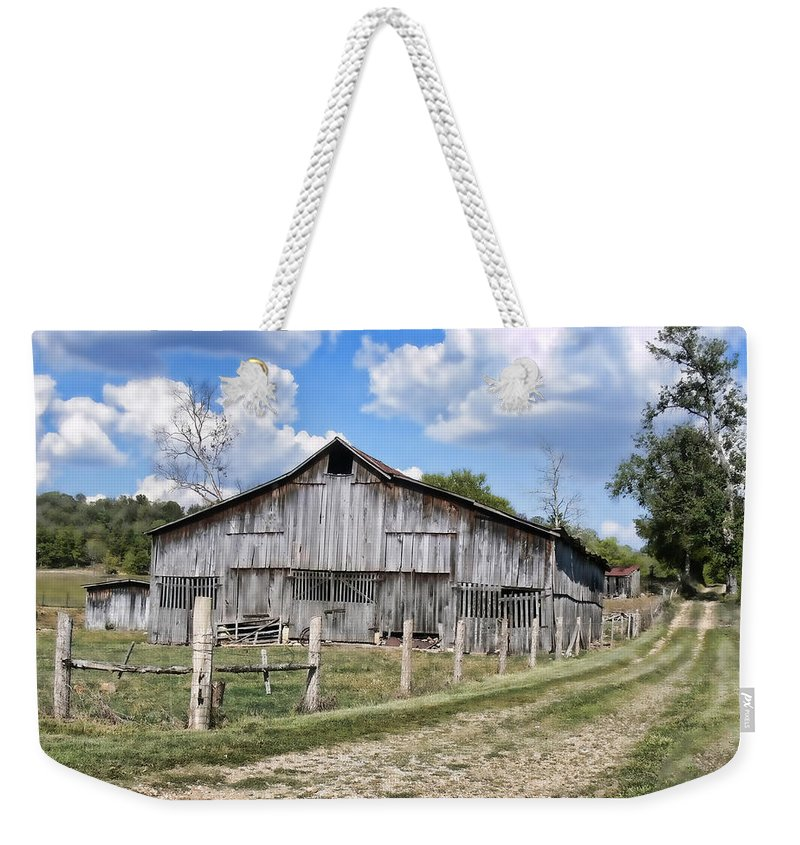 Barn Weekender Tote Bag featuring the photograph Road To The Barn - Featured In Old Building And Ruins Group by Ericamaxine Price