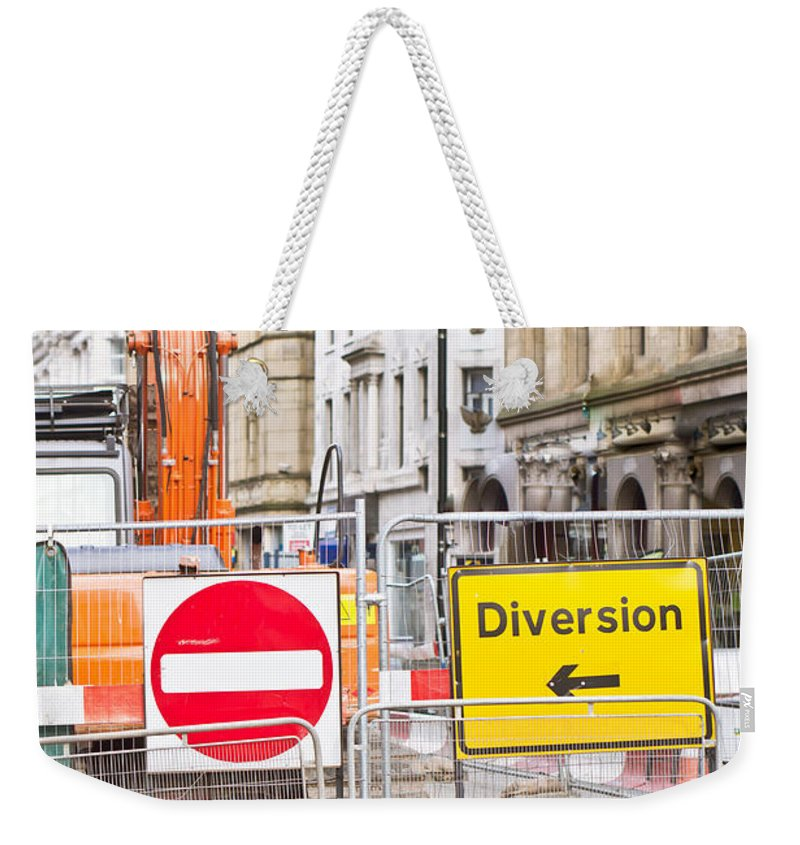 Barrier Weekender Tote Bag featuring the photograph Road Works by Tom Gowanlock
