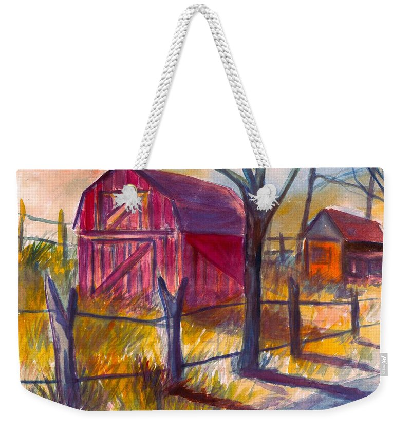 Barn Weekender Tote Bag featuring the painting Roadside Barn by Kendall Kessler