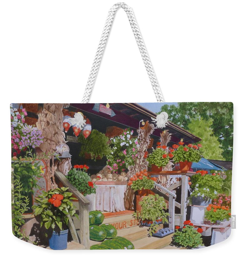 Landscape Weekender Tote Bag featuring the mixed media Roadside Stand by Constance Drescher