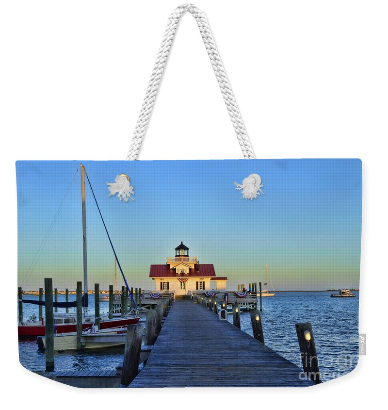 Roanoke Marshes Lighthouse Weekender Tote Bag featuring the photograph Roanoke Marches Lighthouse by Allen Beatty