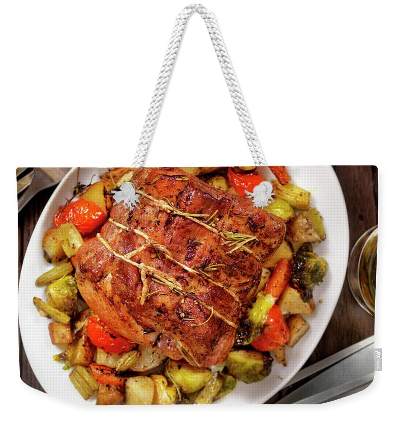 Gravy Weekender Tote Bag featuring the photograph Roasted Pork Loin Roast Dinner by Lauripatterson