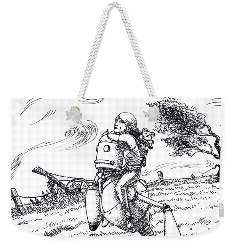 Robot Robby Drawing Landscape Science Fiction Sci Fi Weekender Tote Bag featuring the drawing Robby And Me by Margaret Schons