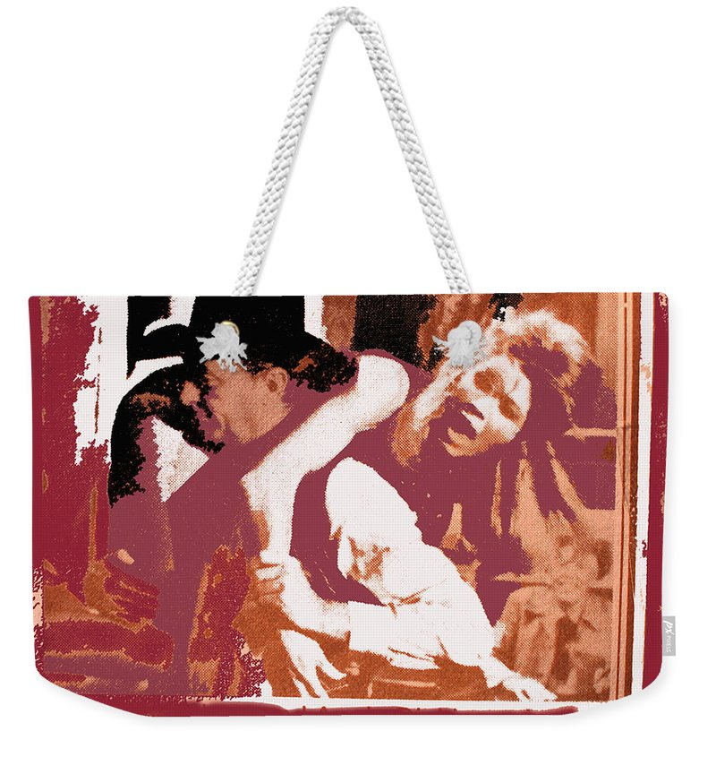 Robert Mitchum Hauls Angie Dickinson Collage Young Billy Young Old Tucson Arizona 1968 Color Added Weekender Tote Bag featuring the photograph Robert Mitchum Hauls Angie Dickinson Collage Young Billy Young Old Tucson Arizona 1968-2013 by David Lee Guss