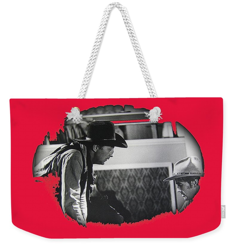 Robert Mitchum Robert Walker Confrontation Young Billy Young Set Old Tucson Arizona 1968 Vignetted Color Added Weekender Tote Bag featuring the photograph Robert Mitchum Robert Walker Confrontation Young Billy Young Set Old Tucson Arizona 1968 by David Lee Guss