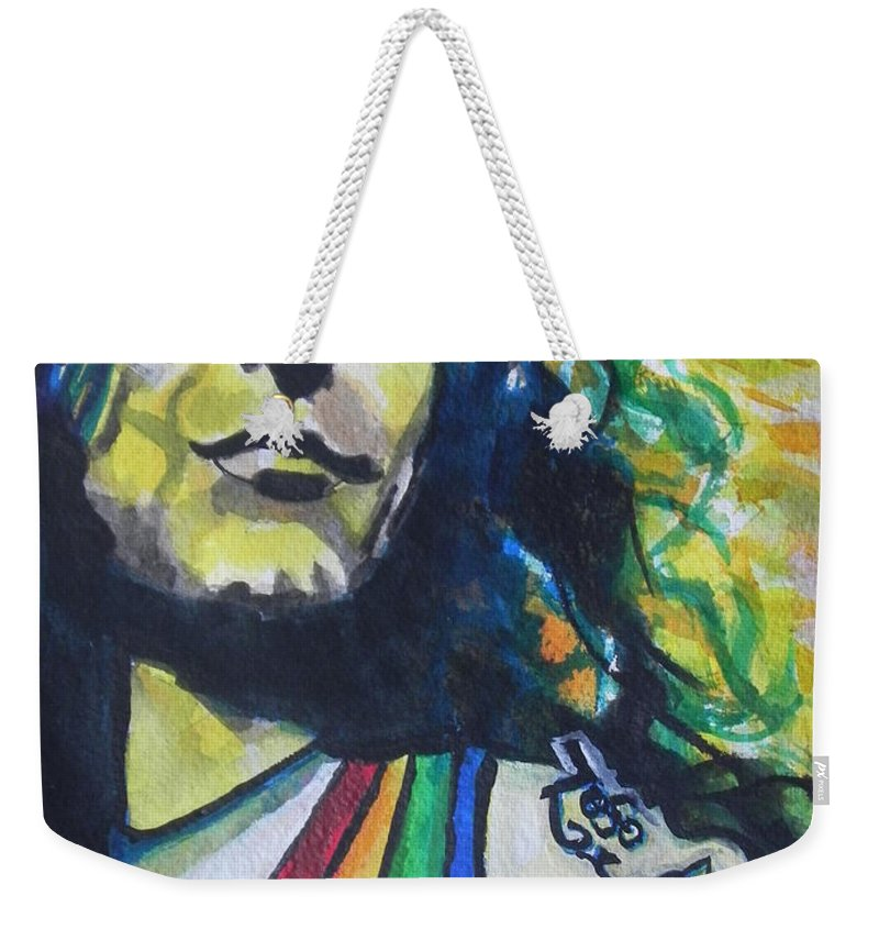 Watercolor Painting Weekender Tote Bag featuring the painting Robert Plant.. Led Zeppelin by Chrisann Ellis