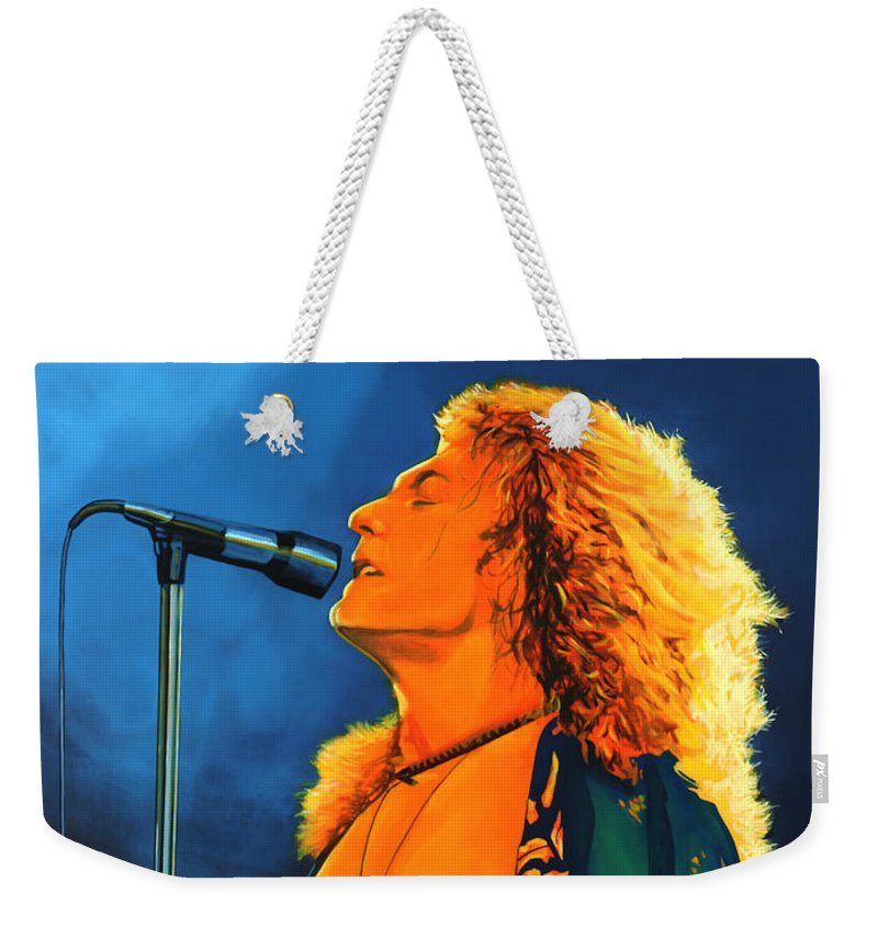 Robert Plant Weekender Tote Bag featuring the painting Robert Plant by Paul Meijering