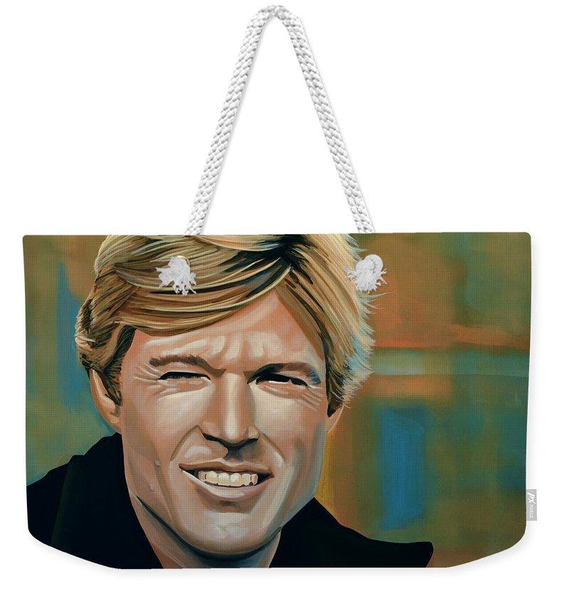Robert Redford Weekender Tote Bag featuring the painting Robert Redford by Paul Meijering
