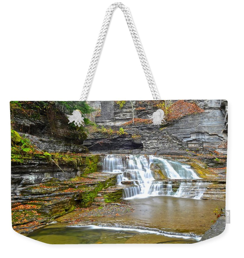 Waterfall Weekender Tote Bag featuring the photograph Robert Treman Waterfall by Frozen in Time Fine Art Photography