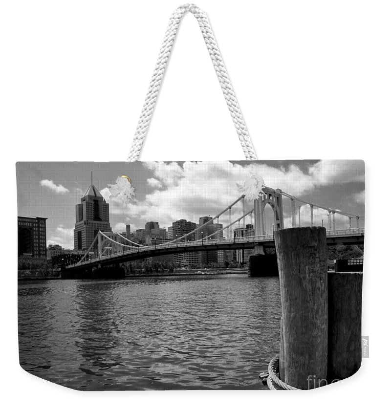 6th Street Bridge Weekender Tote Bag featuring the photograph Roberto Clemente Bridge Pittsburgh by Amy Cicconi