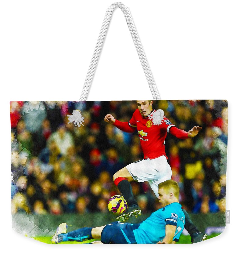 English Weekender Tote Bag featuring the digital art Robin Van Persie Of Manchester United by Don Kuing
