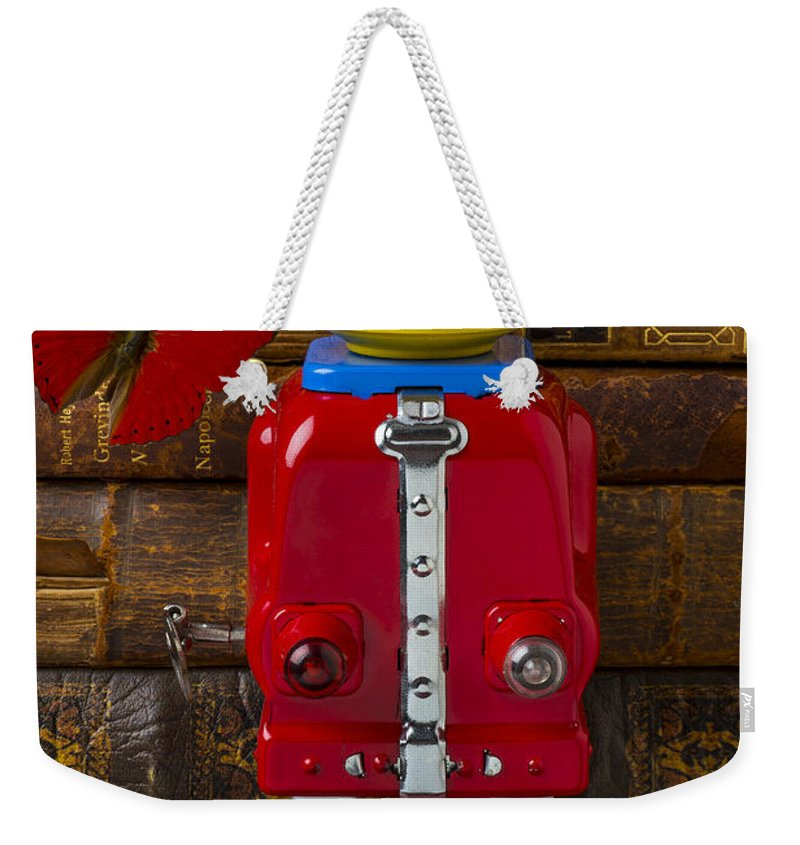 Robots Weekender Tote Bag featuring the photograph Robot With Butterfly by Garry Gay