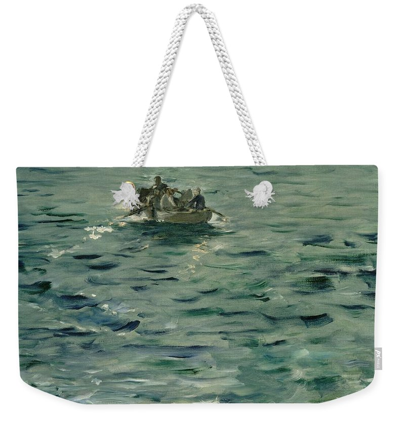 1881 Weekender Tote Bag featuring the painting Rochefort's Escape by Edouard Manet