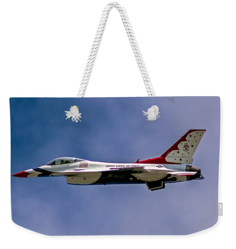 Rochester Weekender Tote Bag featuring the photograph Rochester Air Show Thunderbirds by Tim Buisman