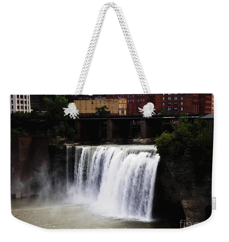 High Falls Weekender Tote Bag featuring the photograph Rochester Ny High Falls by Rose Santuci-Sofranko