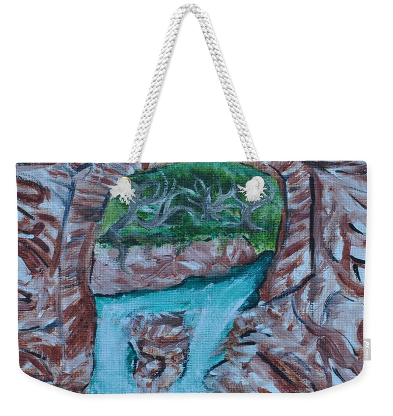 Rock Red Bridge And Falls Weekender Tote Bag featuring the painting Rock Bridge Over Falls by Suzanne Surber
