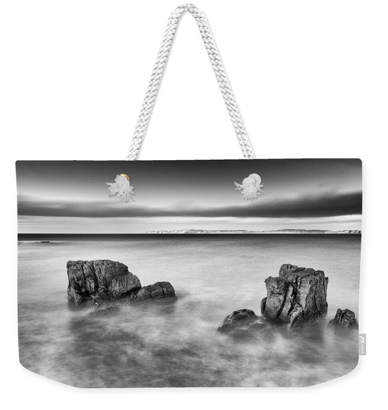 Pans Rock Weekender Tote Bag featuring the photograph Ballycastle - Rock Face by Nigel R Bell