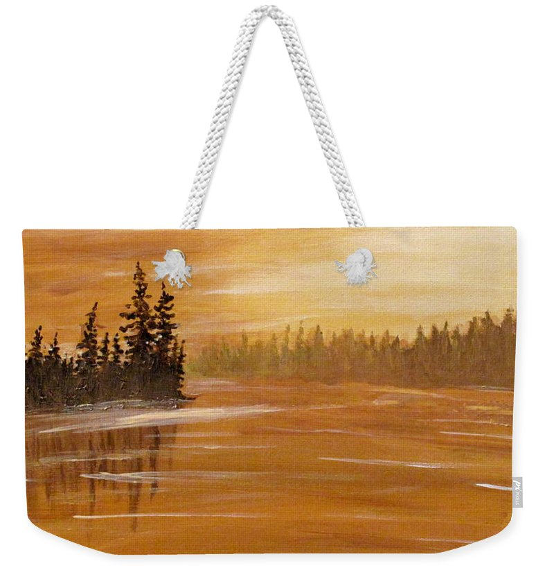 Northern Ontario Weekender Tote Bag featuring the painting Rock Lake Morning 1 by Ian MacDonald