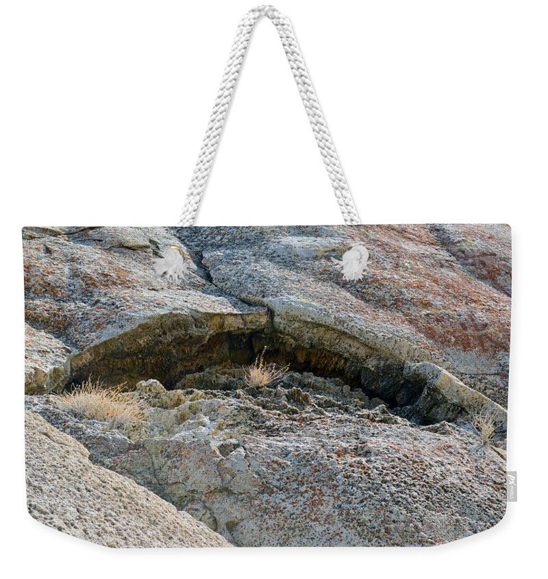 Abstract Weekender Tote Bag featuring the photograph Rock Mouth by Brent Dolliver