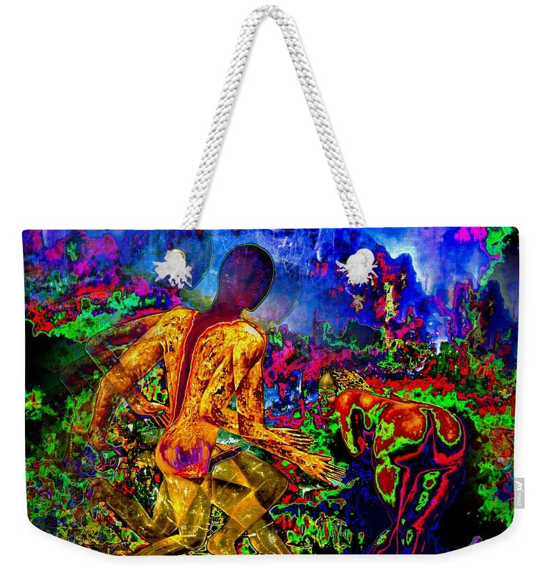 Genio Weekender Tote Bag featuring the mixed media Rock 'n' Roll In The Rhythms Of Colours by Genio GgXpress