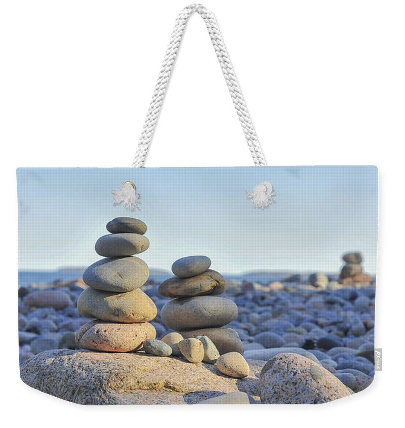 Rock Piles Zen Stones Little Hunters Beach Maine Weekender Tote Bag featuring the photograph Rock Piles Zen Stones Little Hunters Beach Maine by Terry DeLuco