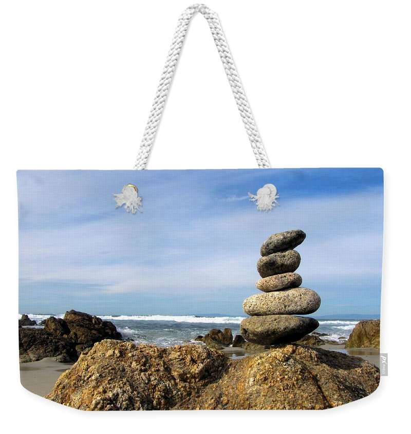 Rocks Weekender Tote Bag featuring the photograph Rock Sculpture At The Beach by Joyce Dickens