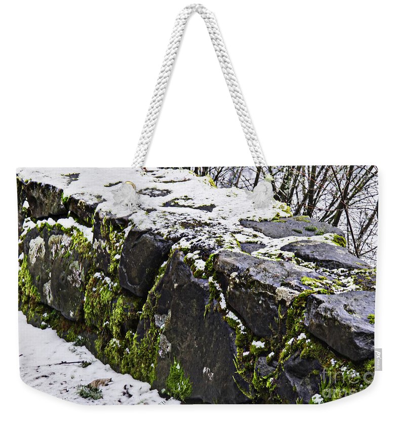 Rock Wall Weekender Tote Bag featuring the photograph Rock Wall With Moss And A Dusting Of Snow Art Prints by Valerie Garner