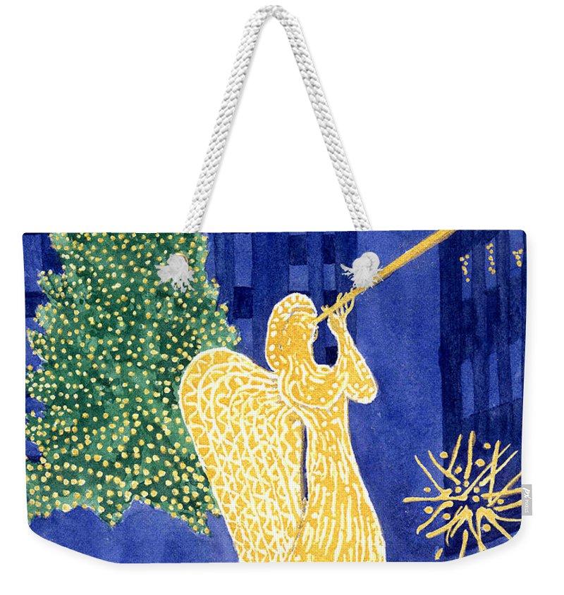 Rockefeller Weekender Tote Bag featuring the painting Rockefeller Angel by Rhonda Leonard