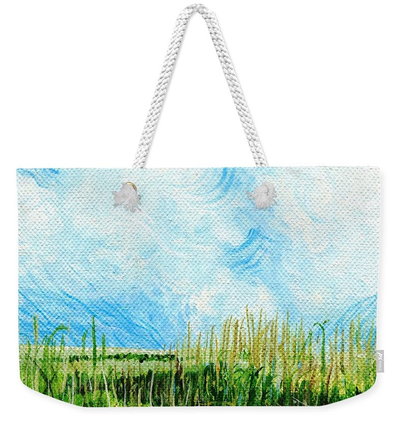 Marsh Weekender Tote Bag featuring the painting Rockefeller Coastal Marsh Louisiana by Lizi Beard-Ward