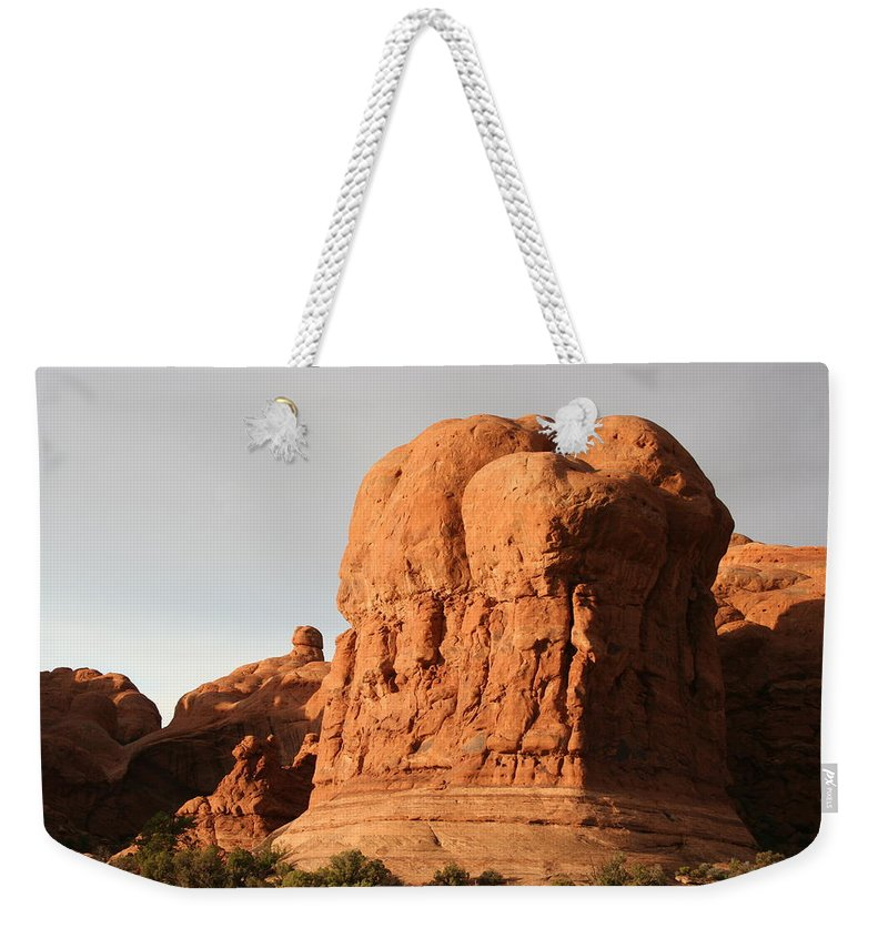 Rocks Weekender Tote Bag featuring the photograph Rockformation Arches Park by Christiane Schulze Art And Photography