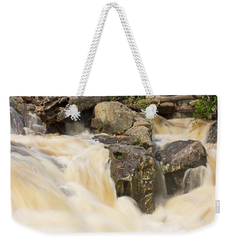 Great Falls Weekender Tote Bag featuring the photograph Rocks And Rapids by Stuart Litoff