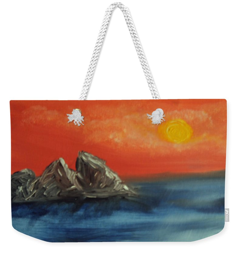 Flathead Lake Weekender Tote Bag featuring the painting Rocks In The Flathead Lake by Suzanne Surber